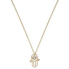 Pilgrim - Gold plated hamsa hand necklace