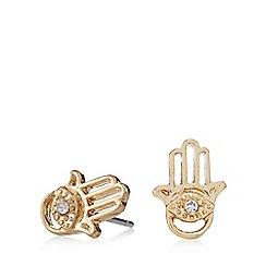 Pilgrim - Gold plated crystal hamsa hand stud earrings