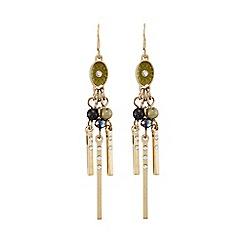 Pilgrim - Gold and green dangle earrings