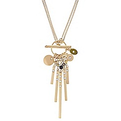 Pilgrim - Gold double length green necklace