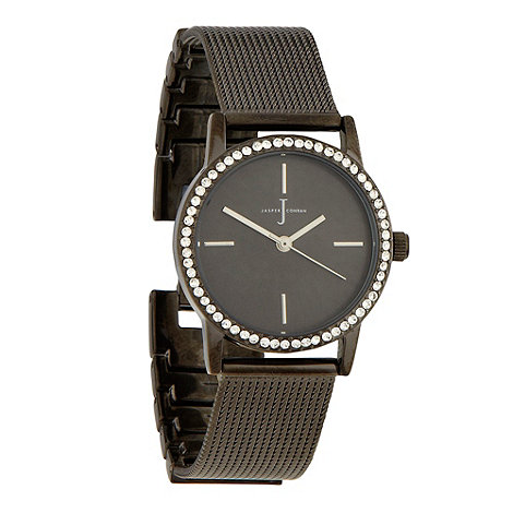 J by Jasper Conran - Ladies dark grey stone bezel watch