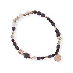 Pilgrim - Rose gold colourbrown bead bracelet