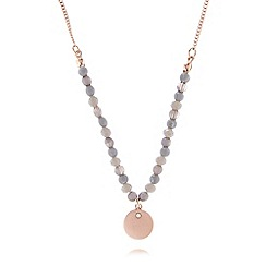 Pilgrim - Rose gold and grey glass beaded necklace