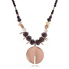 Pilgrim - Rose gold and brown beaded disc necklace