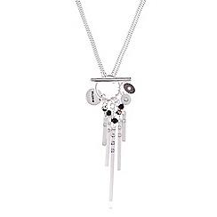 Pilgrim - Silver colour double length black necklace