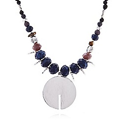 Pilgrim - Silver and blue beaded disc necklace