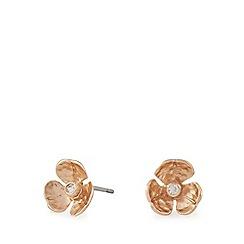 Pilgrim - Rose gold flower crystal stud earrings