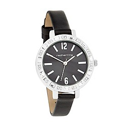 Red Herring - Ladies black large stone bezel watch