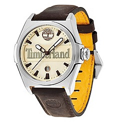 Timberland - Men's dark brown 'back bay' leather strap watch