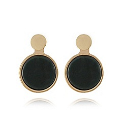 Pilgrim - Gold plated 2 in 1 green stud earrings