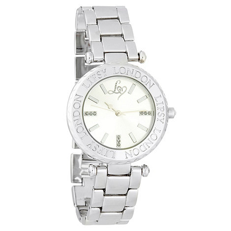 Lipsy - Ladies silver engraved logo case watch