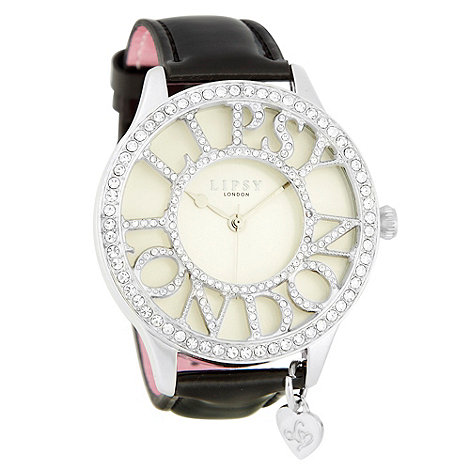 Lipsy - Ladies black diamante logo case watch