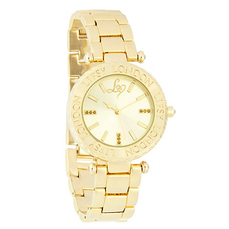 Lipsy - Ladies gold engraved logo case watch