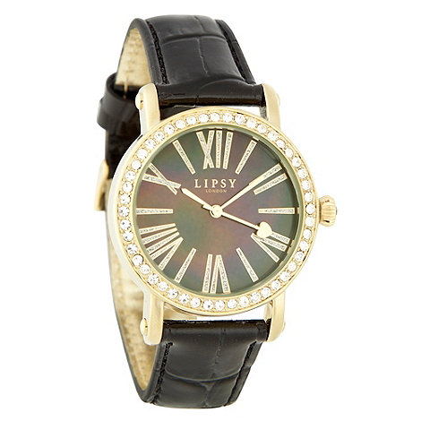 Lipsy - Ladies black diamante case mock-crocodile strap watch