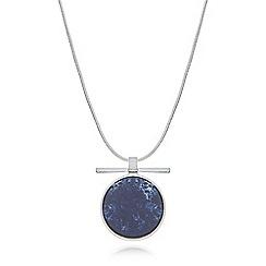 Pilgrim - Silver plated blue rostone pendant necklace