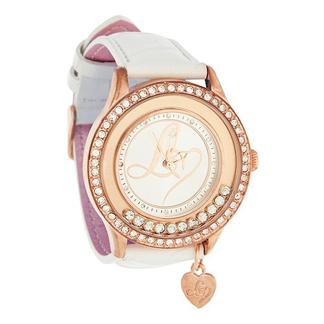 Lipsy - Ladies white loose diamante case watch