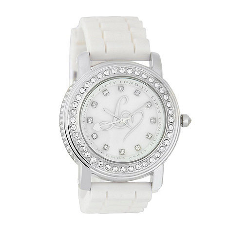 Lipsy - Ladies white silicone strap diamante watch