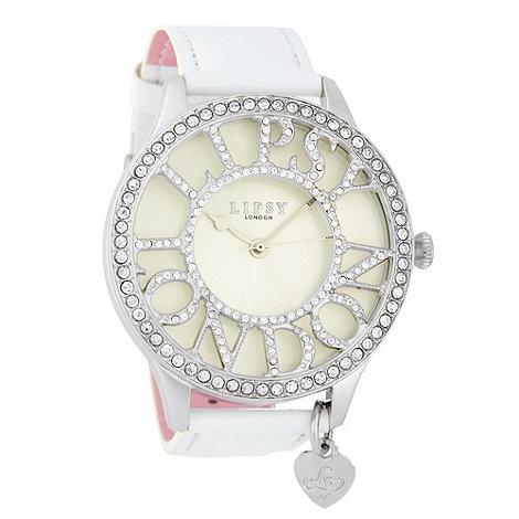 Lipsy - Ladies white diamante logo case watch