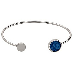 Pilgrim - Silver plated blue bezel bangle bracelet