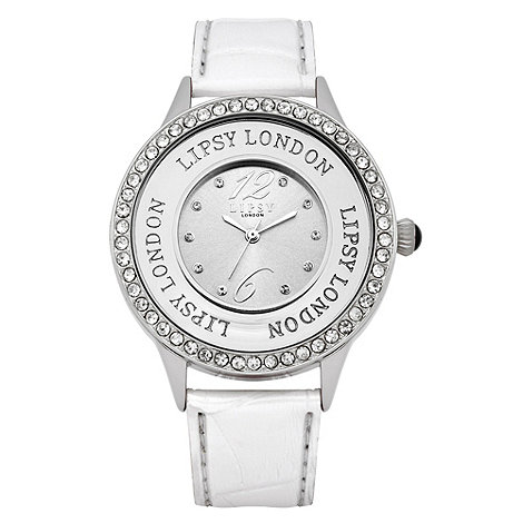 Lipsy - Ladies white diamante and bead case watch