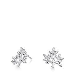 Pilgrim - Silver plated crystal tree stud earrings