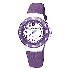Lorus - Kids' purple textured rubber strap watch r2337dx9