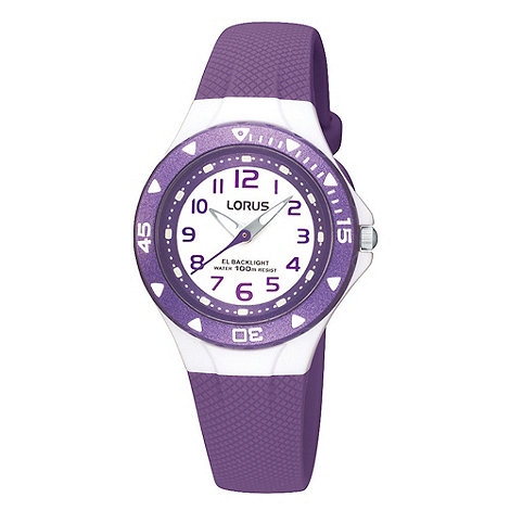 Lorus - Kids+ purple textured rubber strap watch