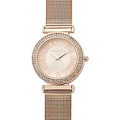 Red Herring - Ladies rose mesh stone embellished analogue watch