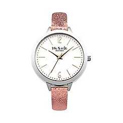 Iris & Edie - Ladies pink glitter strap round watch