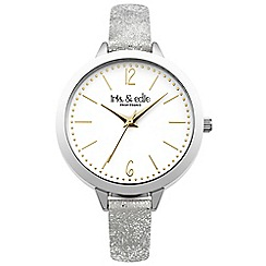 Iris & Edie - Ladies glitter strap round watch