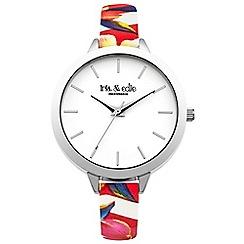 Iris & Edie - Ladies pink floral print skinny strap watch