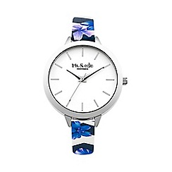 Iris & Edie - Ladies blue floral skinny strap watch
