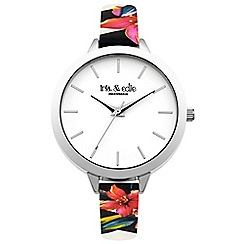 Iris & Edie - Ladies butterfly print skinny strap watch