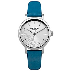 Iris & Edie - Ladies dark blue floral dial watch