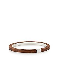 Pilgrim - Silver plated brown wooden bracelet