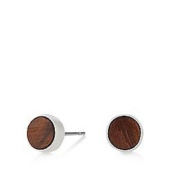 Pilgrim - Silver plated brown wood stud earrings
