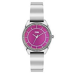 STORM London - Ladies silver 'Mizaz' crystal bangle watch mizaz purple