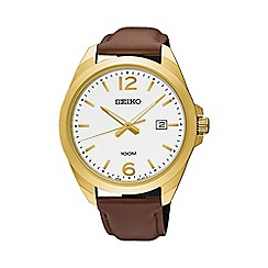 Seiko - Gents Stainless Steel/Gold Plate 3-Hand Leather Strap Watch sur216p1