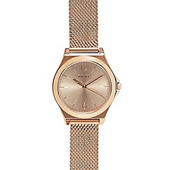 DKNY - Ladies rose gold tone 'Parsons' mesh bracelet watch