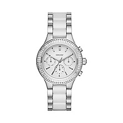 DKNY - Ladies silver 'Chambers' ceramic chronograph watch ny2497