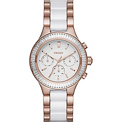 DKNY - Ladies rose gold tone 'Chambers' ceramic chronograph watch