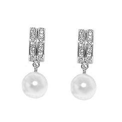 Finesse - Rhodium Swarovski crystal and pearl baguette earrings