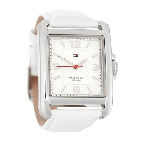 Tommy Hilfiger - Ladies white rectangular logo patterned dial watch