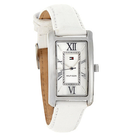 Tommy Hilfiger - Ladies white rectangular dial leather strap watch