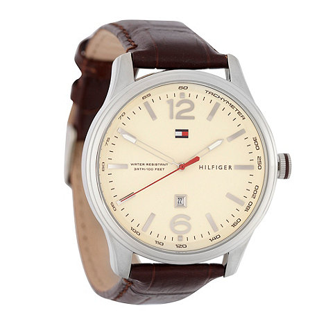 Tommy Hilfiger - Men+s brown analogue dial leather strap watch