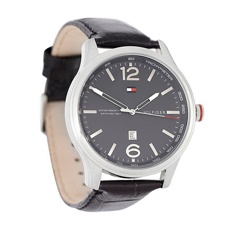 Tommy Hilfiger - Men+s black analogue dial leather strap watch