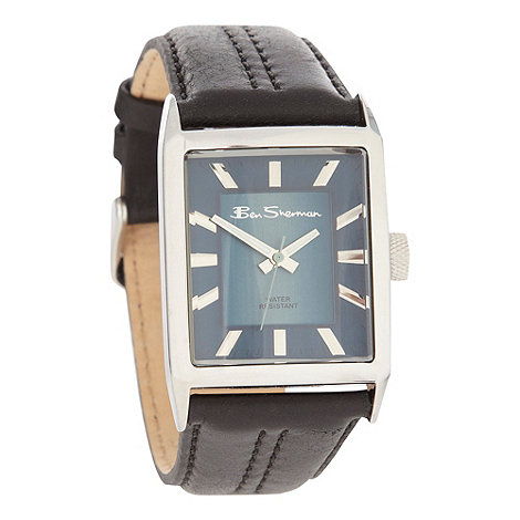 Ben Sherman - Men's black leather strap watch