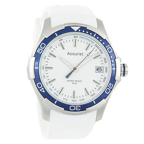 Accurist - Men+s white silicon strap watch