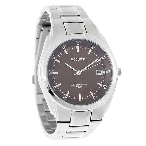 Accurist - Men+s brown dial silver matte striped bracelet watch