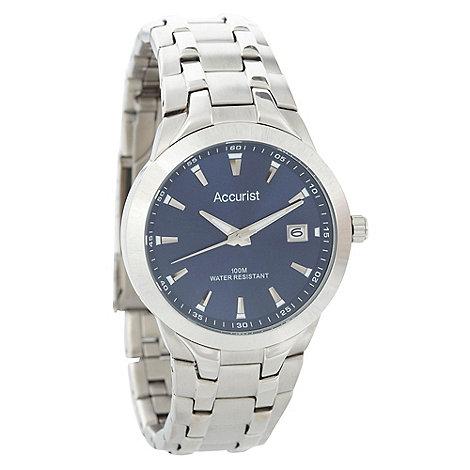 Accurist - Men+s silver striped bracelet watch mb860n